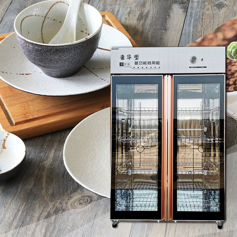 Commercial Tableware Tableware Disinfection Cabinet Large Capacity Double Door Ozone Stainless Steel Disinfection Cabinet