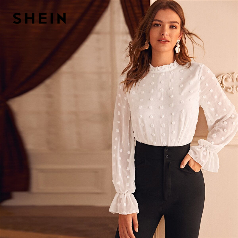 SHEIN White Swiss Dot Flounce Sleeve Solid Blouse Women Spring Summer Frilled Collar Office Ladies Elegant Blouses And Tops