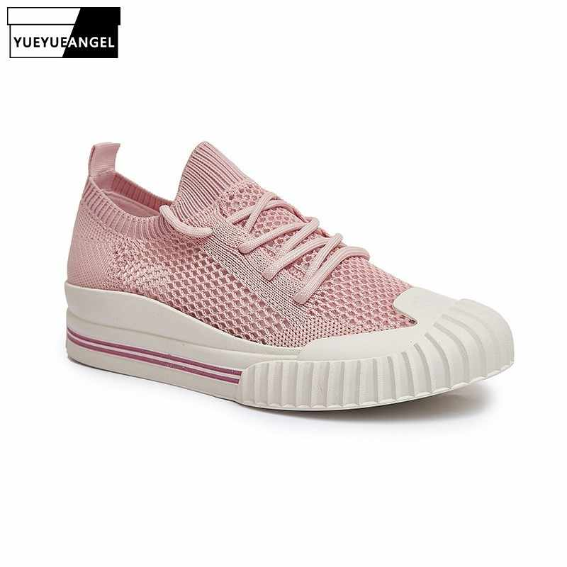2019 Mesh Ademend Toevallige Vrouwen Schoenen Zomer Hollow Out Loafers Flats Schoenen Wit Zwart Lace Up Platte Sneakers Chaussure Femme