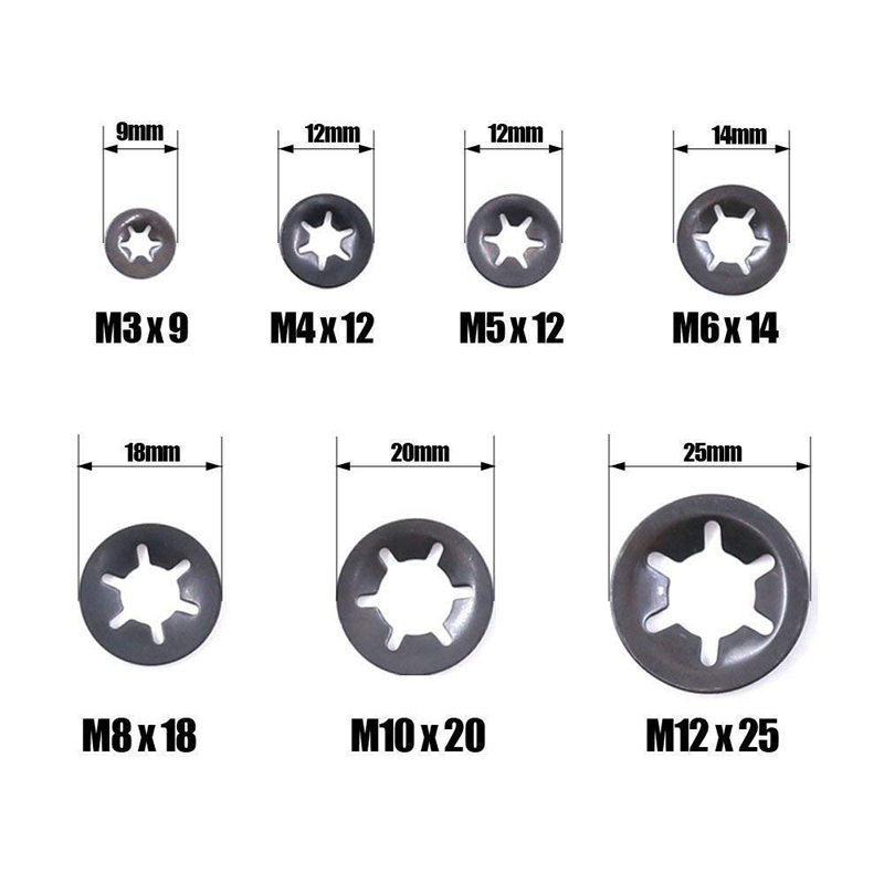 Pack of 40 Starlock Washers M3x9 Assortment Kit for Internal Tooth Pressure Washer Clip Clips