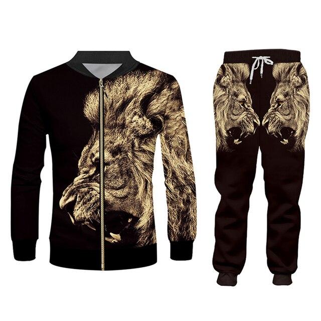 CJLM Casual Men's Tracksuit Hoodie Pants 3D Printing Two-piece Winter Jacket Men Loose Large Size Black Animal Lion Suit Sports 2