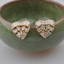 925 Silver Neddle Gold Plated Cute Heart Bling Zircon Stone Stud Earrings for Women Korean Earrings 2020 New Fashion Jewelry big bling square zircon stone silver stud earrings for women korean earrings fashion jewelry 925 silver