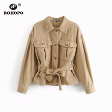 ROHOPO Autumn Women Belted Cargo Trench Coat Pockets Solid Cotton Overall Windbreaker Outwear #9463