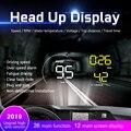A9 автомобильный HUD Дисплей на голову OBD 2 Цифровой Автомобильный измеритель скорости сигнализации скорость проектор Предупреждение Авто HUD ...