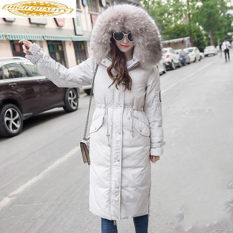 White Duck Down Jacket Women Winter Coat High Quality Women's Down Jackets Big Fur Follar Chaquetas Invierno Mujer KJ441