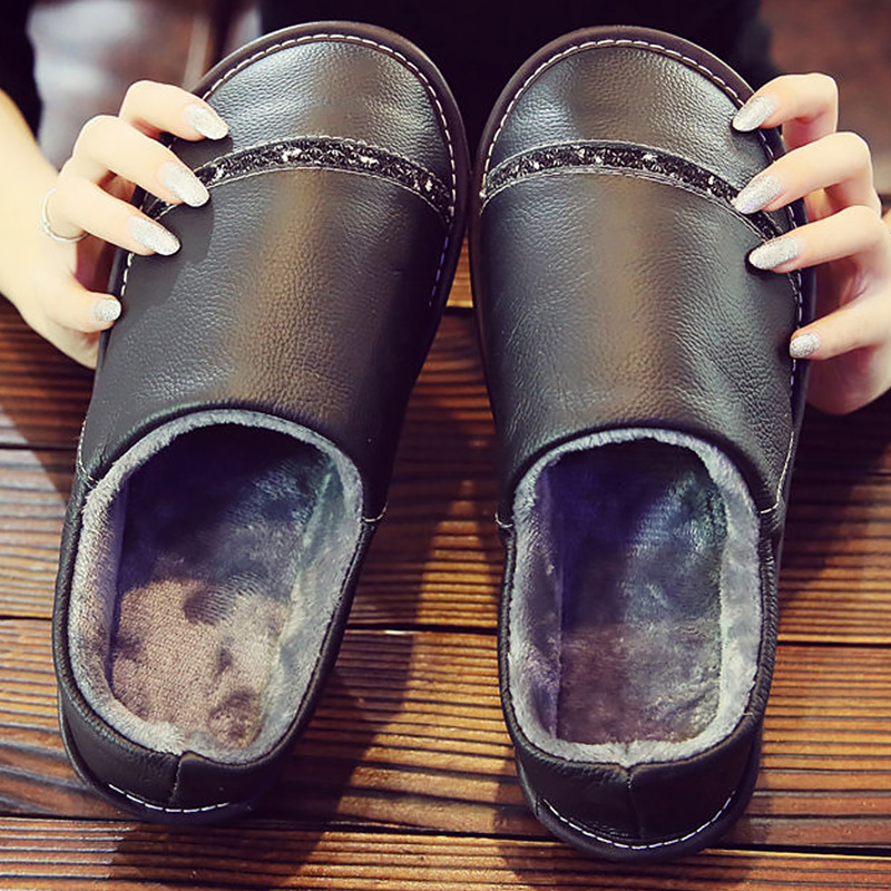 Genuine Leather Slippers Men Indoor Warm Shoes 2019 Runway Unisex Slipper Home Shoes Male Winter Slippers