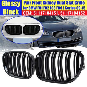 2pcs Frente Kidney Grille Grill Preto Carro de Corrida Grills Para BMW F01 F02 F03 F04 7 Série 2009 2010 2011 2012 2013 2014 2015