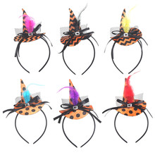 Halloween Kürbis Zauberin Headwear Hexe Stirnband Phantasie Kleid Kappe Party Cosplay Spitze Schleier Topper Party Haar Ornamente Kinder 830(China)