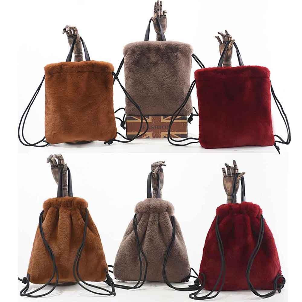 ANSFX 2019 Fashion Leopard Faux Fur Furry Handbag Tote Bag Drawstring Backpack Satchel Purse Stylish Women Evening Party 6 Color