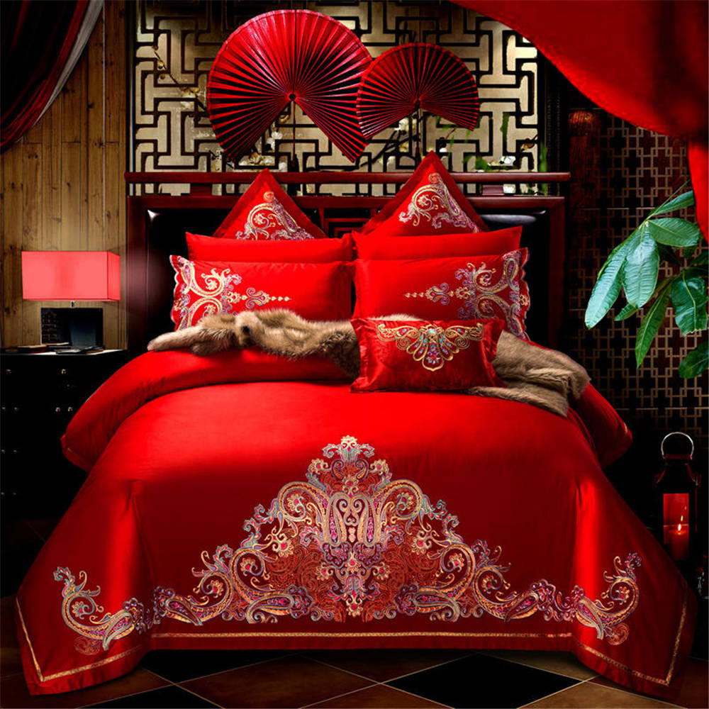 2019 4/6 pièce rouge chine coton dentelle luxe mariage ensemble de literie fabricants vente produits maison textile housse de couette ensemble