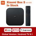 Original Globale Xiaomi Mi Box S 4K Ultra HDR Android TV 8,1 Mi Boxs 2G 8G WIFI google Cast Netflix Set Top Mi Box 4 Media Player