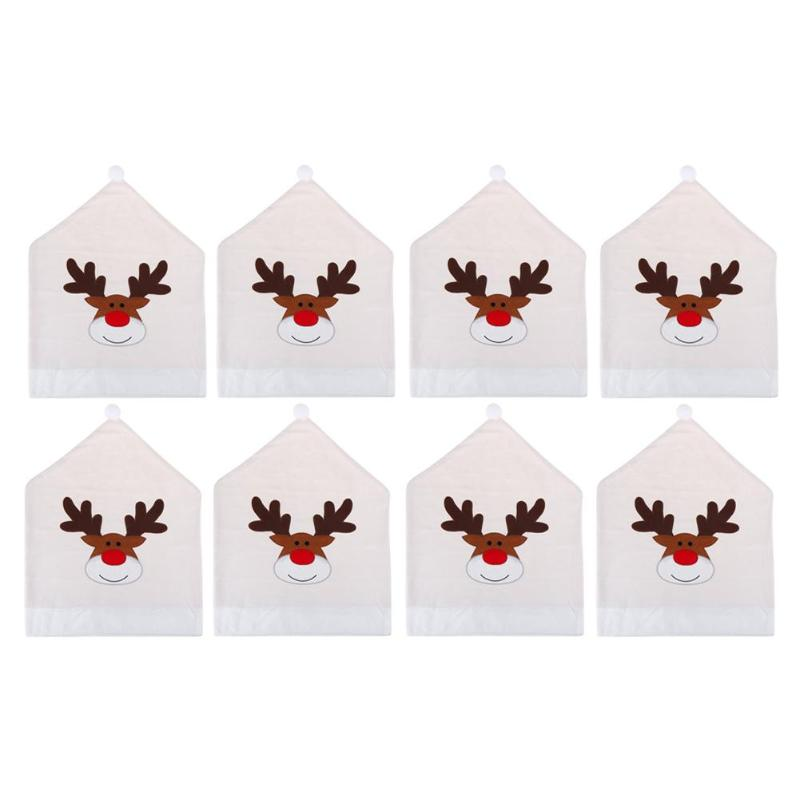 Fabulous 1 4 6 8Pcs Cartoon Elk Embroidered Hat Christmas Chair Covers For Home Dinner Table Decor Xmas New Year Decor Party Supplies Gmtry Best Dining Table And Chair Ideas Images Gmtryco