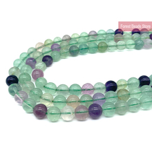 4 6 8 10 12MM Natural Fluorite Stone Loose Beads 15