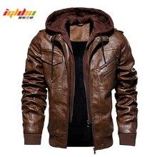Мужские зимние теплые флисовые куртки и пальто осенние мужские кожаные куртки со съемной шапкой верхняя одежда мотоциклетная кожаная куртка