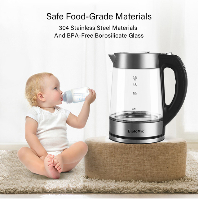 BioloMix BPA FREE 1.8L 2200W Blue LED Light Glass Kettle Tea Coffee Pot with Temperature Control & Keep-Warm Function Appliances Consumer Electronics