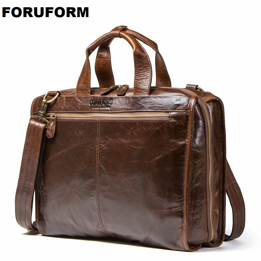 Business Men's Briefcases Men's Bag Genuine Leather Messenger Bags 15.6 Inch Laptop Bag Leather Briefcase Office Bags For Men