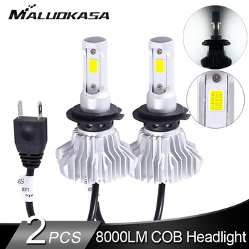 2Pcs LED H7 Headlight Bulbs COB Chip 72W/Pair 12000LM/set 6500K Super Mini Car H4 H7 H11 9005 9006 Auto Fog Lights Car Styling image