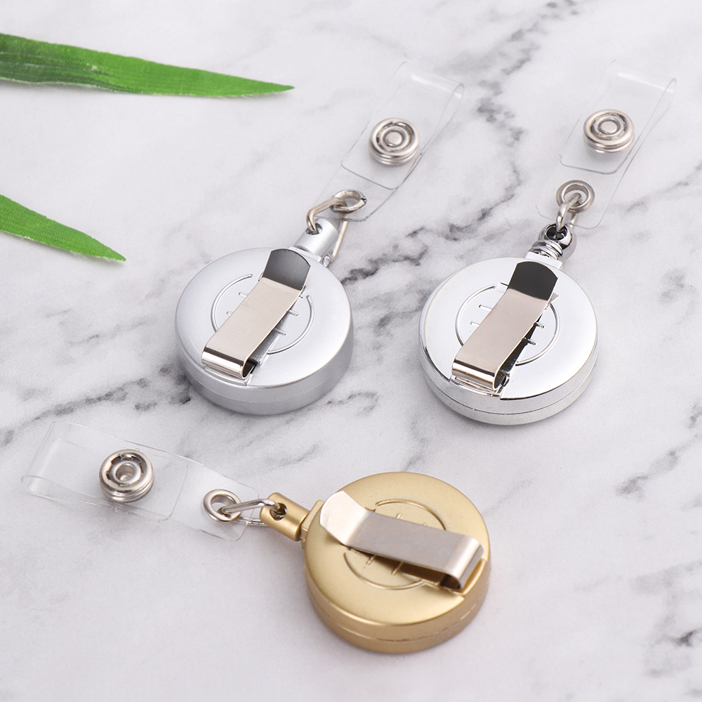 1pcs 3 Colors To Choose Retractable ID Card Badge Reel Chrome Metal Retractable Door Pass Holder Retractable Chain Work Card Key