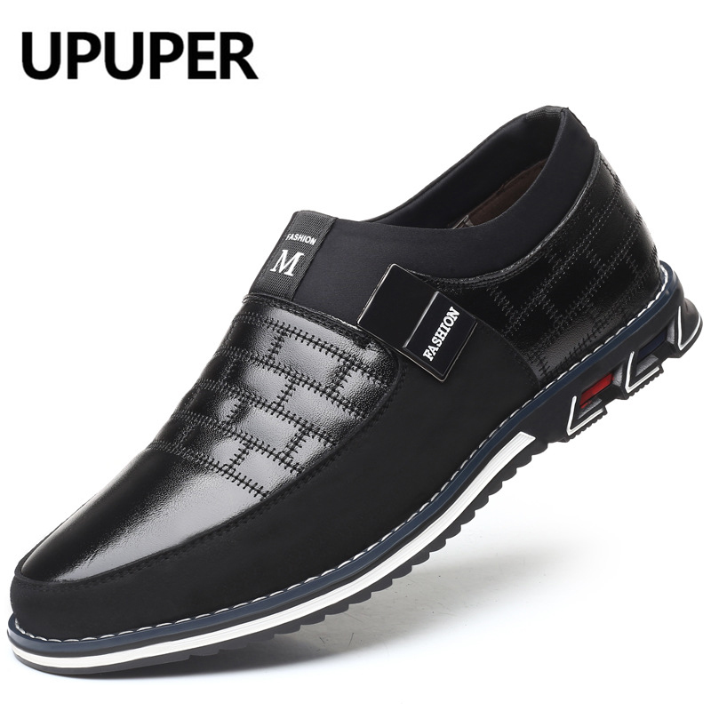 UPUPER Autumn Winter Leather Shoes Men Fashion Slip-On Men's Shoes Casual Loafers Flat Soft Moccasins Driving Footwear