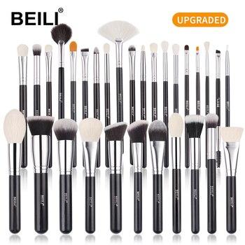 BEILI Goat Makeup Brush Set Eyeshadow Makeup Brushes Professional Foundation Blending Eyebrow Fan Blush  pinceaux de maquillage 1