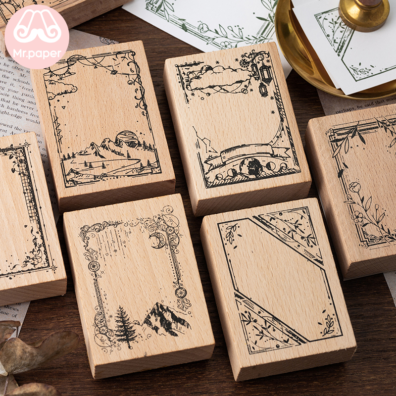 Mr Paper Vintage Retro Style Flower Frame Border Series Wooden Rubber Stamps For Scrapbooking Deco Craft Wooden Stamps Big Size