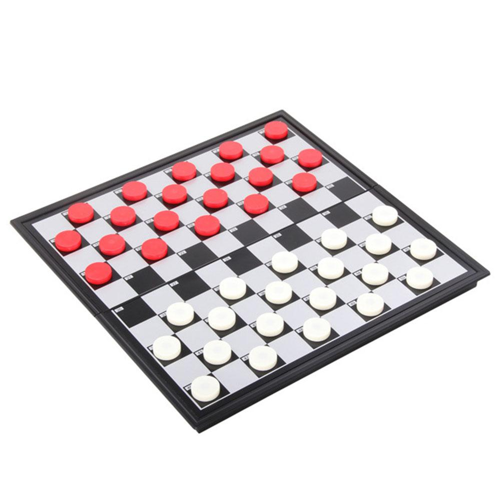 Chess Portable Plastic Folding Board Magnetic Chess Plate Mini Chess Set Puzzle Game Kid Toy 25*25cm Draughts Checkers Chess