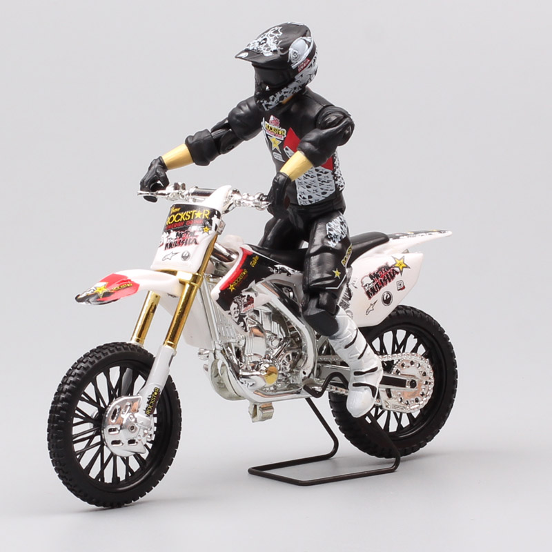 1/18 Scale Honda Kawasak Imetal Mulisha Todd Potter FMX Dirt Bike Action Figure Motocross Motorcycle Diecast Toy Model Miniature