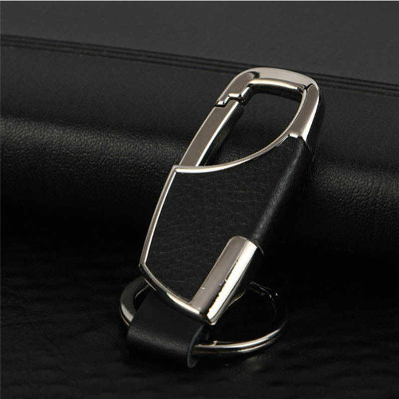 Men Creative Metal Leather Key Chain Ring Keyfob Car Keyring Keychain Gift