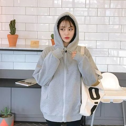 Harajuku with hat hoodies women zipper kangaroo pocket casual loose solid color sweatshirt female 2020 fashion new female tops 19