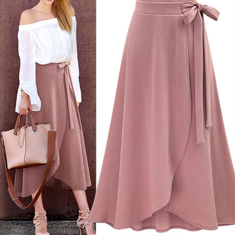 LO.VE Chiffon Pink Ruffle Women's Long Skirt High Waist Bowtie Split Irregular Maxi Skirts Ladies Spring Office Clothes Female
