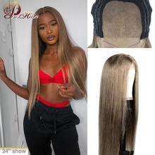 Pinshair – perruque Lace Front Wig Remy brésilienne naturelle, cheveux lisses, gris, vert, 4x4, pre-plucked, avec Baby Hair, 130 de densité