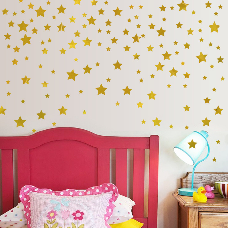 Nordic Style Golden Stars Wall Sticker DIY Wall Decals For Kids Children Bedroom Home Decor Luminous Effect Stickers