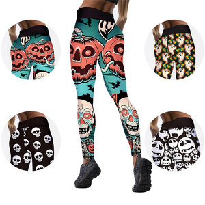Image 4 - 8 Colors Womens Halloween Leggings Digital Print High Waist Pants Workout Push Up Leggins Mujer Knitted Sexy Christmas leggings