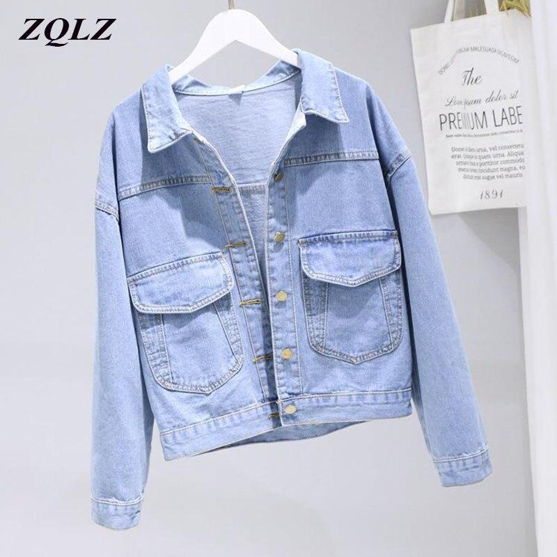 ZQLZ Autumn Denim Jackets Women 2020 New Vintage Casual Coat Female Jean Jacket Mujer Spring Short Outerwear Ladies Basic Coat