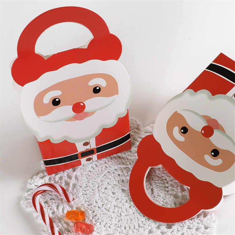 1pcs feliz natal papai noel caixa de presente da mão tamanho pequeno festa de natal caixas de doces de papel portátil