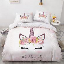 Classic 3D Bedding Set White Duvet Cover Set Comforter Double King Queen Double Single Unicorn Cartoon Design Custom Bedclothes