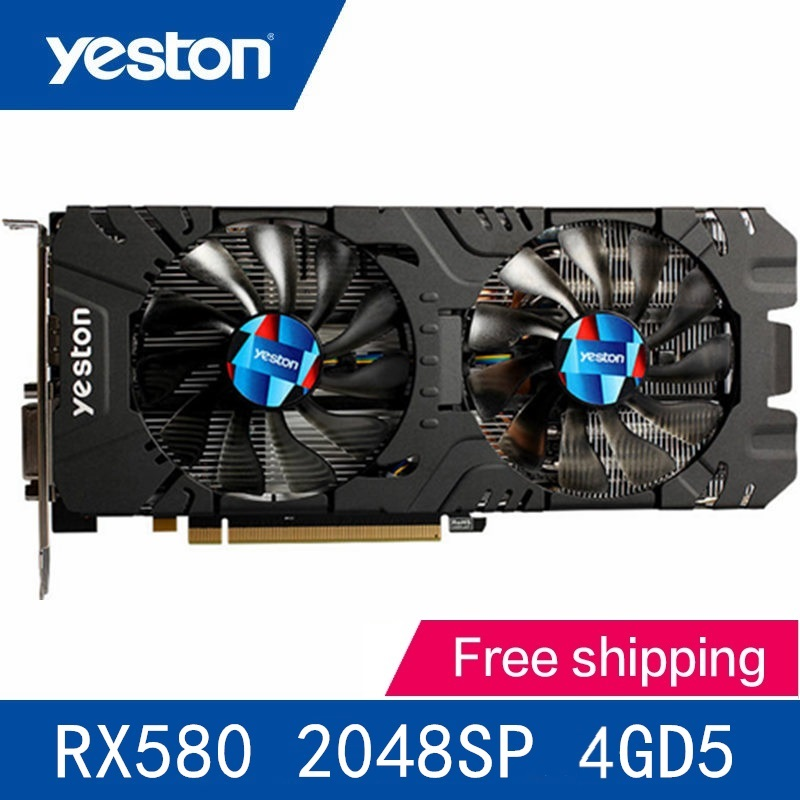 Yeston Radeon RX580 2048SP-4G GDDR5 PCI Express x16 3.0 Video Gaming Graphics Card External Graphics Card For Desktop PC VR