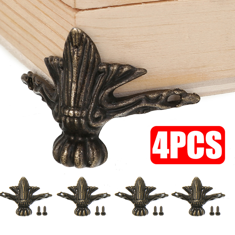 4pcs/lot 42 X 30mm Antique Jewelry Chest Wood Furniture Box Decorative Feet Leg Corner Protector Cover Decoration Bronze