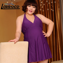 Purple One Piece Swimwear Women Plus Size High Waist Swimsuit Dress Big Size Swimming Suit 7XL Large Cup Lace Up Bathing Suit