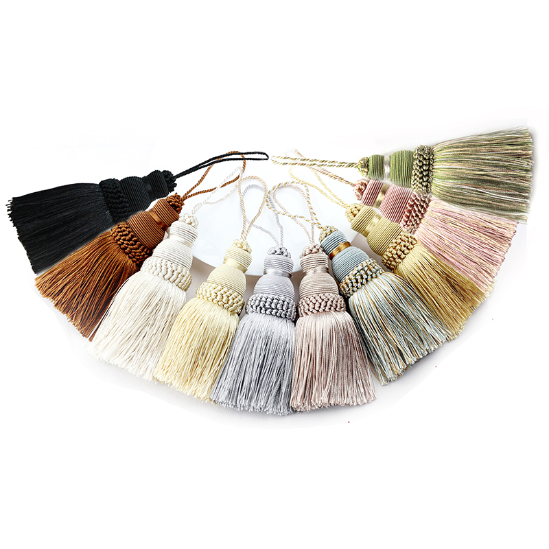 1Pc Home Decor Hanging Rope Silk Tassel Fringe Tassel Trim Garment Decoration Key Tassels for DIY Embellish Curtain Accessories