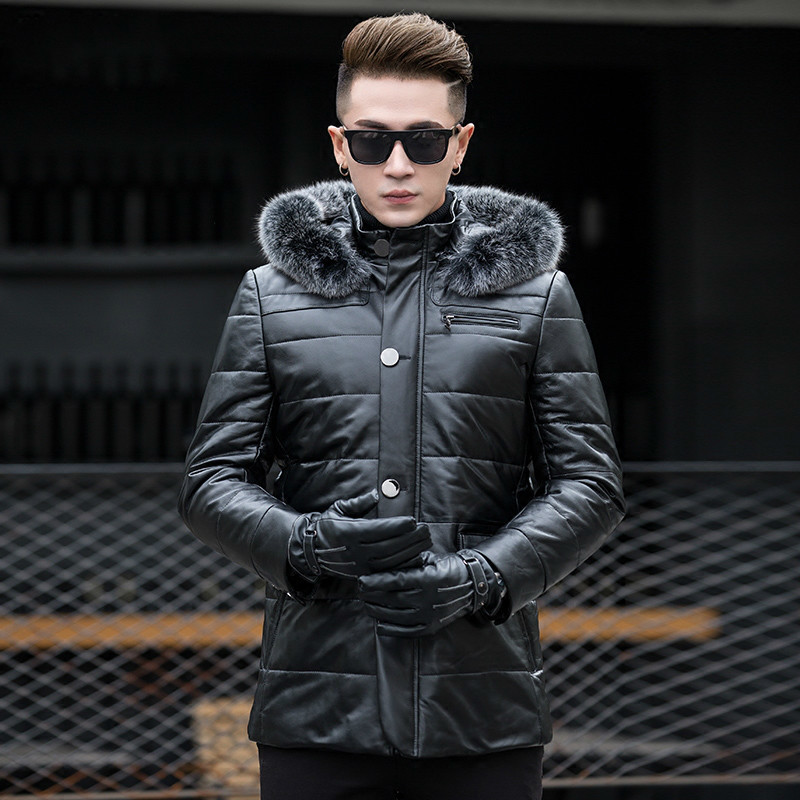Genuine Leather Winter Jacket Fox Fur Collar Real Sheepskin Coat For Men Warm Down Jackets Manteau Homme Hiver MY1242