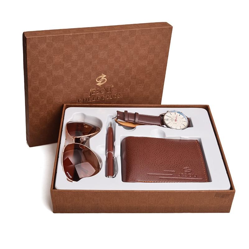 Fashion Luxury Men's Quartz Watch Brown Black Gift Box Set Sunglasses Wallet Pen 4 Pcs New Year Gift Christmas New Year Present