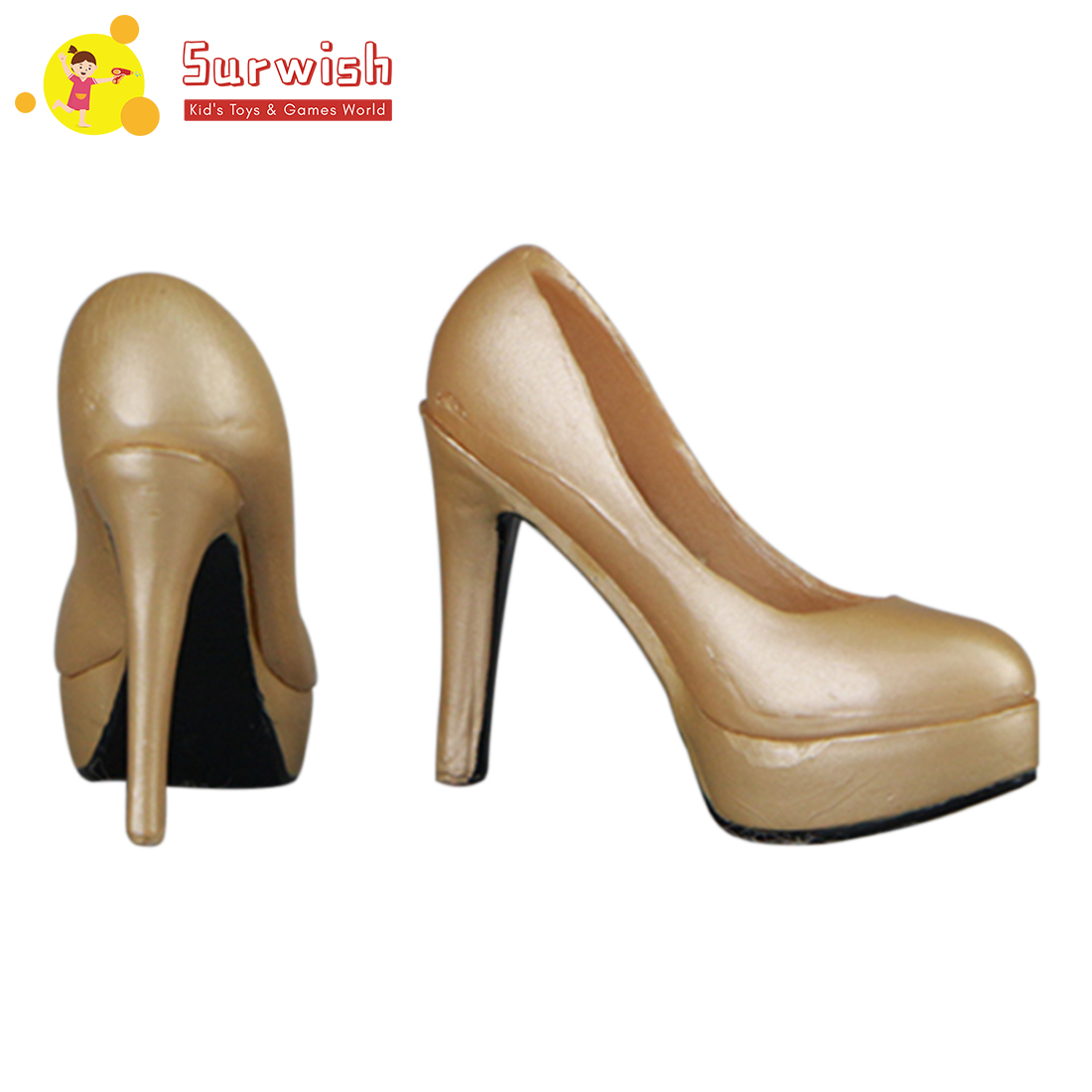 High Heels Shoes For 1/6 Scale Action Female Figure - Golden