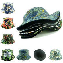 Womens Cotton Hat Panama Bucket Women Flower Design Summer Beach Sun Bonnet Reversible Foldable Cap WH036D