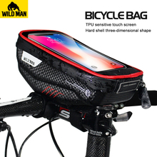 WILD MAN MTB Bicycle Bag Waterproof Phone Touch Screen Bike Bags Front Frame Top Tube Hard Shell Cycling Storage Accessories
