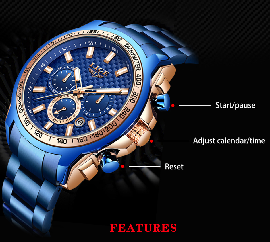 Heaa7d3f122f142c995fc78576b4f1982B - LIGE New Fashion Blue Watch,Mens Watches Top Brand Luxury Clock Man Military Chronograph Quartz Watch Men Relogio Masculino