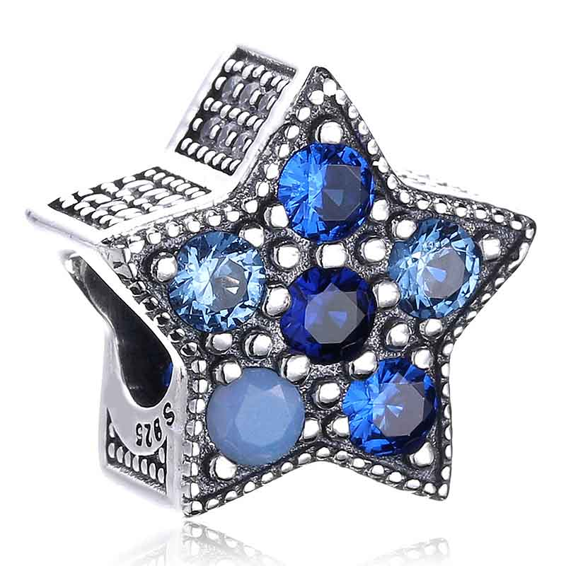 Original Bright Star With Multi-Colored Crystals Beads Fit 925 Sterling Silver Bead Charm Women Bracelet Diy Jewelry