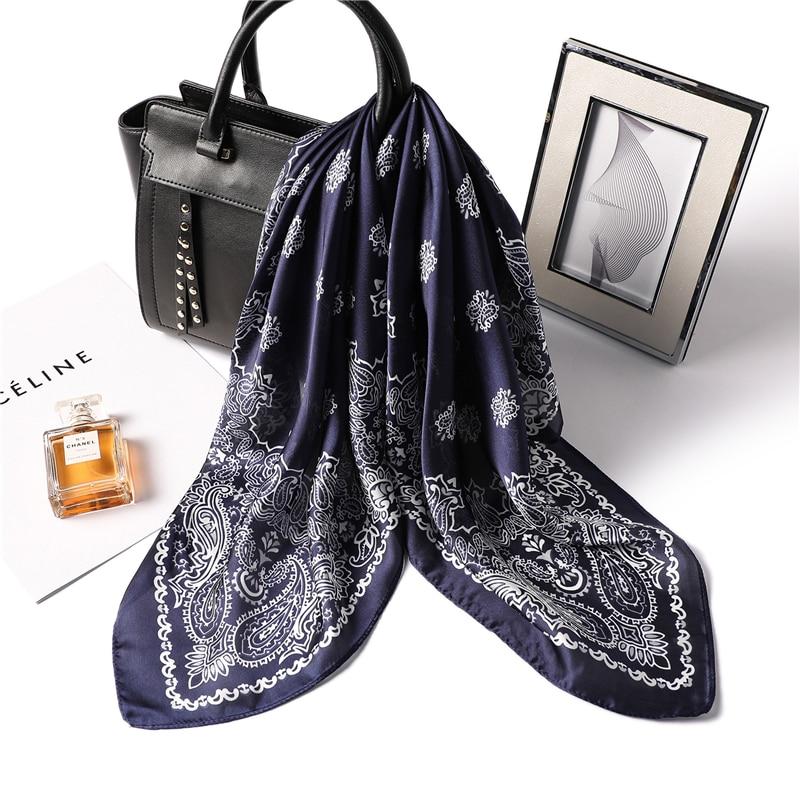 Fashion Print Scarf For Women Office Neck Silk Scarves Foulard Hijab Head Band Lady Shawls Pashmina Bandana
