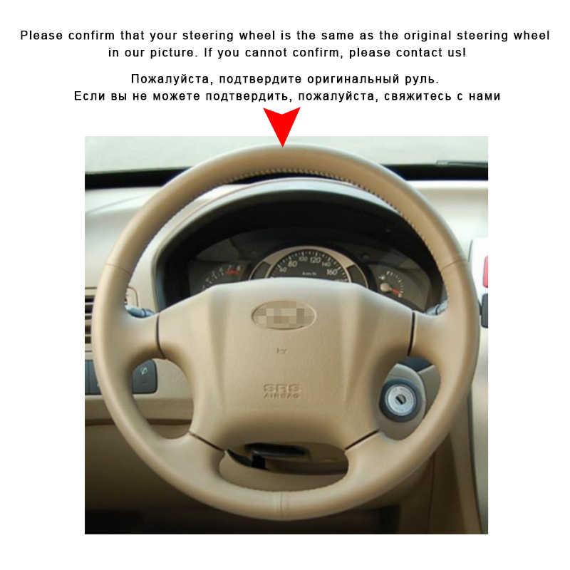Otomatik örgü üzerinde direksiyon kılıfı Hyundai Tucson 2005 2006 2007 için 2008 2009 2006-2014 araba iç aksesuarları Styling