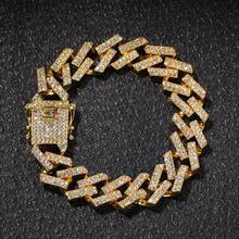 Hot Sale Cuban Chain 15mm Gold Color Full Rhinestone Men Bracelet Fashion Jewelry